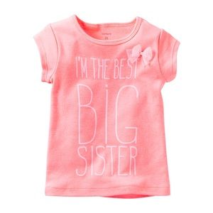 "Carter's Peach ""I'm The Best Big Sister"" Top 6X"